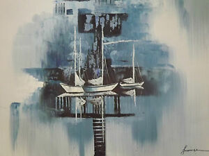 abstract-blue-boats-ships-large-oil-painting-sea-ocean-fishing-sailing-original