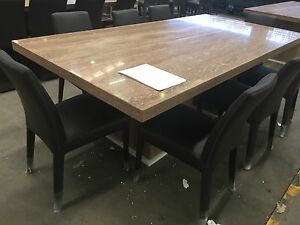 ITALIAN MADE ITALIAN MARBLE DINING TABLE with ITALIAN leather chairs Strathfield Strathfield Area Preview