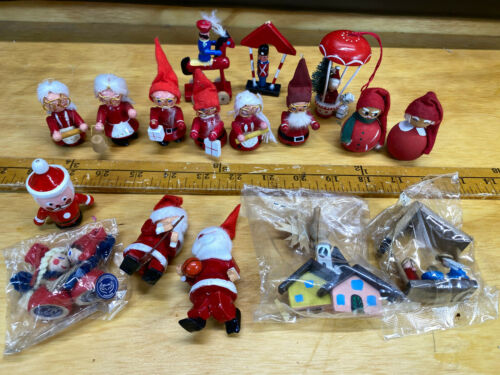 Vtg Wood Christmas Ornaments Mixed Lot Mr & Mrs Santa Claus Holline Denmark