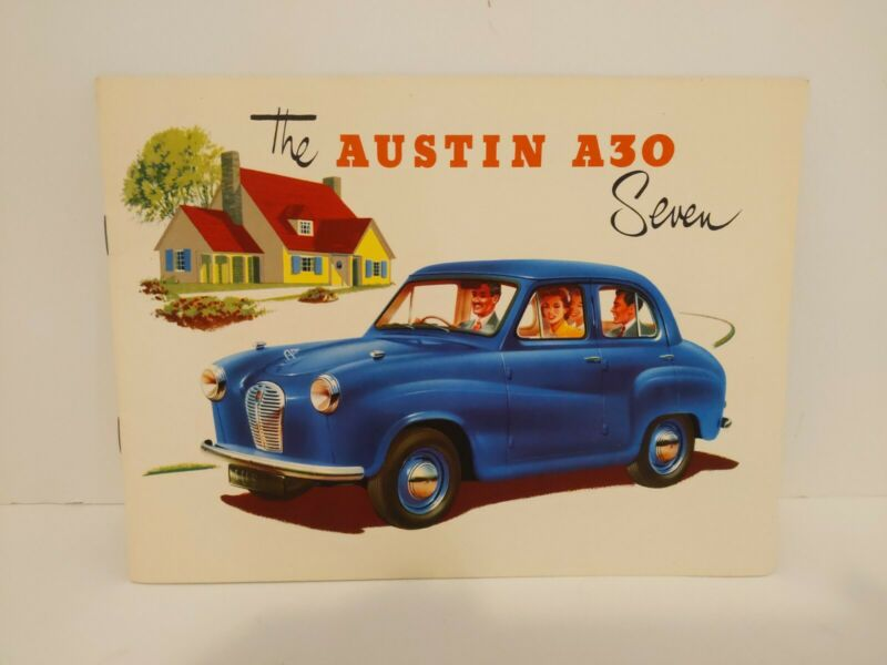 Vintage Austin A30 Seven Dealers Brochure Rare Yellow House White Background