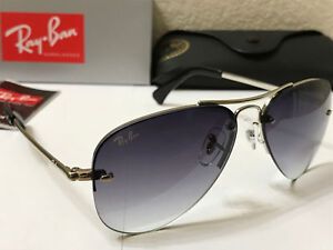 RAY BAN RB3449 003/8G Highstreet Sunglasses Silver / Grey Gradient Size 59MM