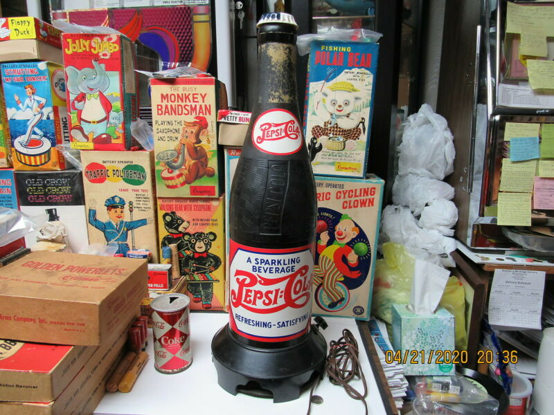 PEPSI COLA BOTTLE RADIO 1949 STORE DISPLAY 2 FEET TALL DOUBLE DOT EXCELLENT RARE
