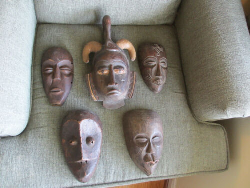 AFRICAN CARVED WOOD MASKS LOT OF 5 CULTURAL ART DECOR FOR  WALL HANGINGS