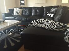 Italian Leather black lounge with chaise Wollongong 2500 Wollongong Area Preview