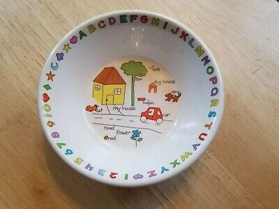 Anacapa Melamie Ware Alphabet Numbers Child Kids Bowl Soup Cereal Dog House Bird