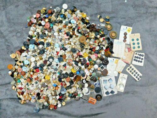 5 + LBs Vintage  / Antique Buttons + Extras Bakelite Metal Plastic Military