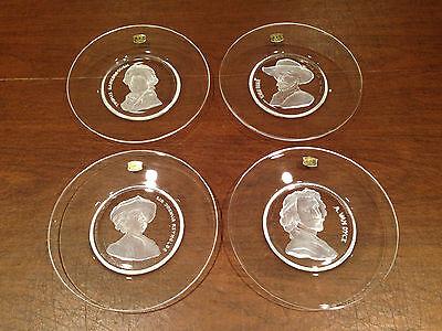 Vintage Set of 4 VAL ST LAMBERT Art Glass Intaglio Cut ARTIST COLLECTOR PLATES