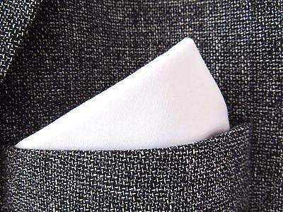 Pocket Square Handkerchief PLAIN WHITE COTTON   WEDDING ACCESSORY UNISEX
