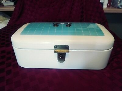 Awesome Vintage German Made  Enameled Bread Box White & Blue Patterned Lid