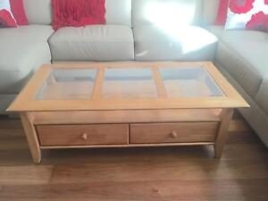 Glass Top / Wood Coffee Table Berwick Casey Area Preview