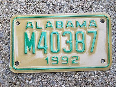 M 40387 = NOS 1992 Alabama Motorcycle MC License plate Harley Davidson Honda