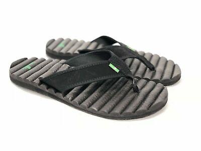 Sanuk Beer Cozy Hop Top Sandals / Flip-Flops New Mens Black  Size 11 Yoga Mat  Beer Flip Flops Sandal