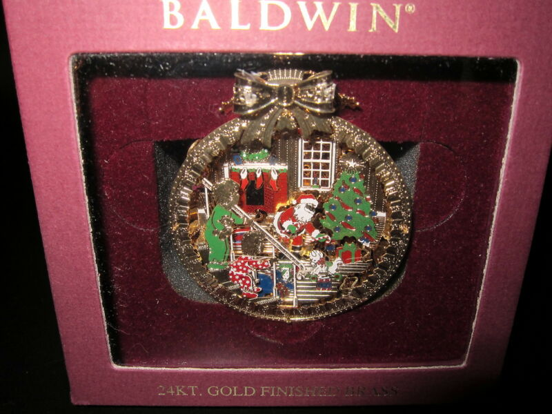 Baldwin Christmas Ornament * SANTA / CHILDREN * 24kt Gold Finished Brass EXC!