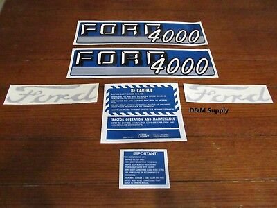 Ford Tractor Decal Set 4000 With Caution Stickers 1115-1548