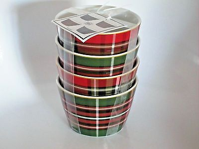4pc+ 222 Fifth WEXFORD Christmas Holiday Dessert Plaid BOWLS Porcelain NEW