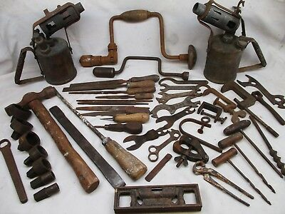 Joblot of vintage tools, Primus torch, hand drills, spanners etc