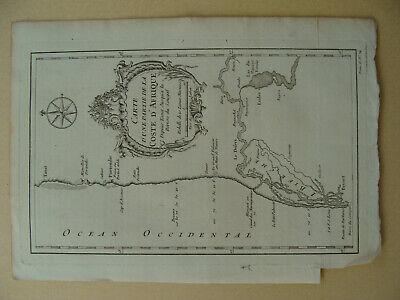 Antique 1757 Bellin Carte d'une Partie de la Coste d'Afrique Depuis Tanit