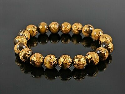 Natural 5A Yellow Tiger Eye Dragon Carved Round Stone Bead Stretch Bracelet