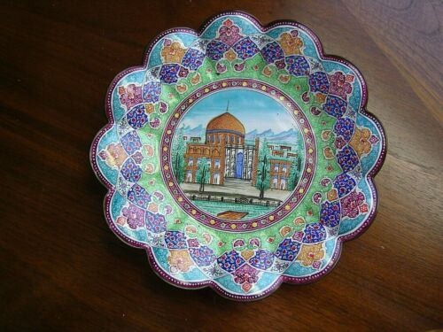 Vintage Bowl Enamel Hand Painted Middle Eastern Persian Temple