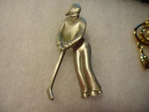 JJ vtg/nos pewter movable Golf Person