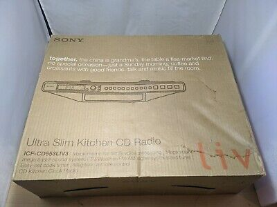 NEW SONY ICF-CD553LIV3 ULTRA SLIM KITCHEN  CD PLAYER/ AM-FM WEATHER CLOCK RADIO