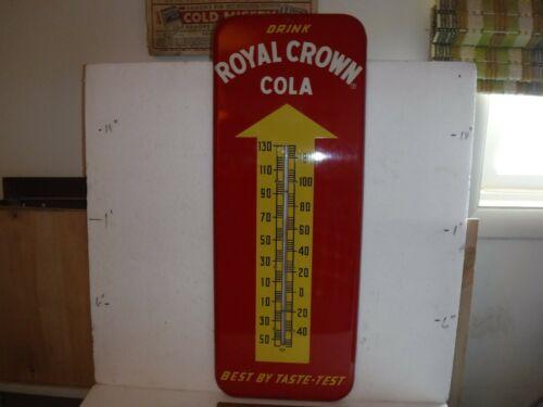 "Original 1957 RC Royal Crown Cola Soda 26"" Metal Thermometer Works Very Nice"