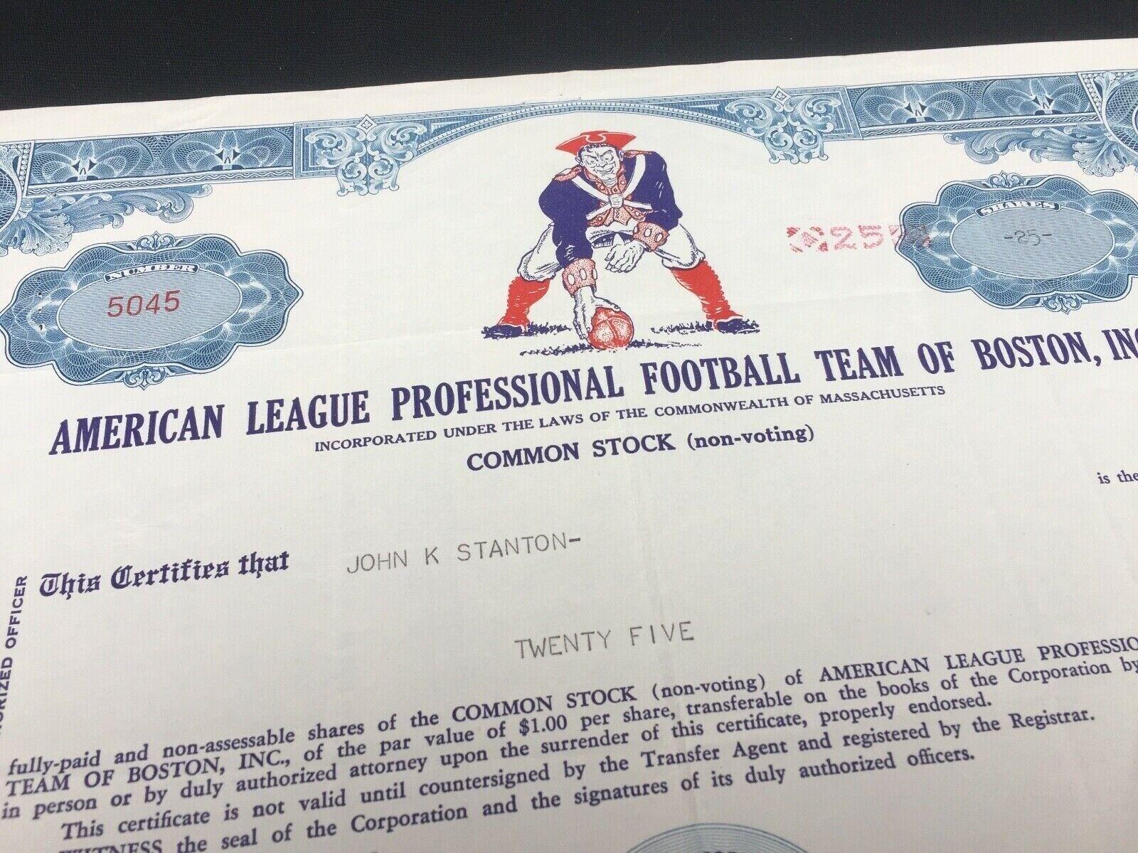 Stock certificate new england patriots 1961 nfl memorabilia -  ef  - 660 z