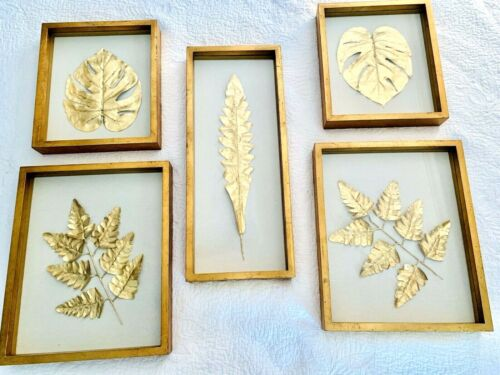 Uttermost+Golden+Leaves+Shadow+Box+%28Set+of+5%29+Gold+Leaf.+Contemporary+Beauty%21%21