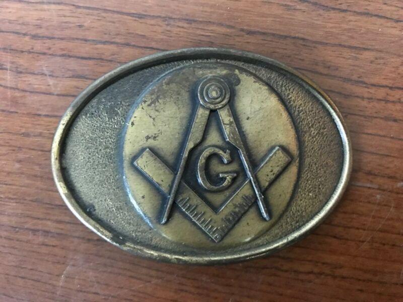 Vintage Masonic Oval Belt Buckle 70's?