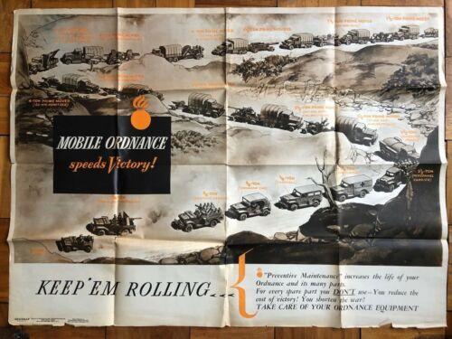 NEWSMAP Vintage WWII Poster Mobile Ordnance Equipment Vehicles War Front Maps