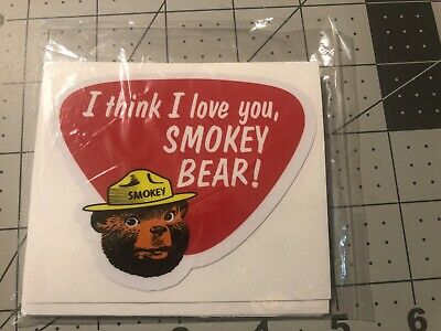 Smokey Bear Decal OLD SCHOOL 1960's I Think I Love You Retail Pack Of 10