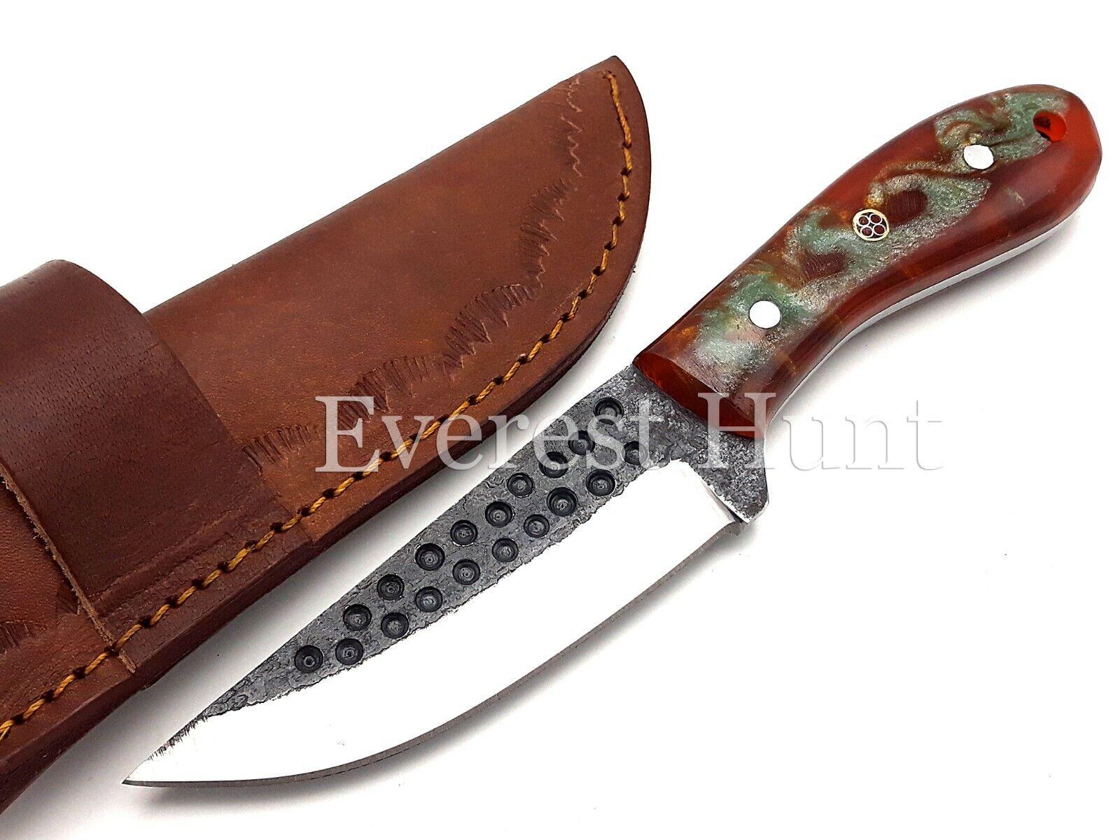 EH CUSTOM HANDMADE D2 HAMMERED STEEL HUNTING CAMP SKINNER KNIFE RAMS HORN B6-38 - $13.63