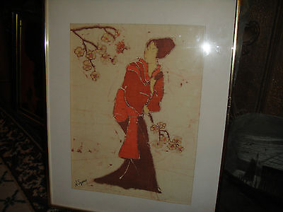 Chinese Batik (Superb Norma Szary Batik Tapestry Of Chinese Or Japanese Woman-Signed &)