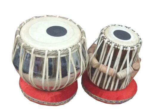 TABLA DRUM SET~WOODEN DAYAN~BRASS BAYAN~INDIAN HANDMADE~WITH HAMMER,BAG, RINGS