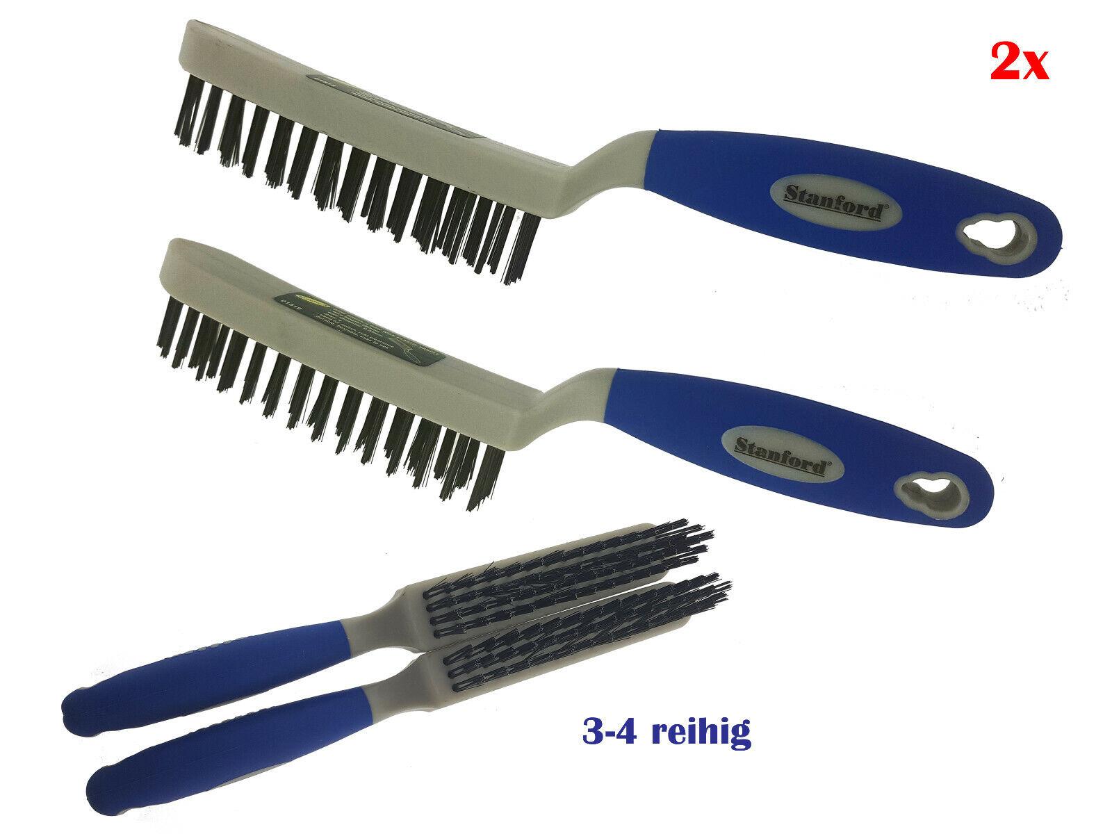 2x Drahtbürste 3-4 reihig Stahlbesen Stahlbürste Handbürste Bremsenbürste Bürste