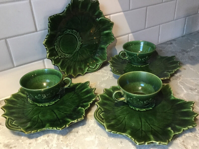 Steubenville WOODFIELD Green (Jungle) 4 Snack Tea Plates + 3 Cups & Saucers