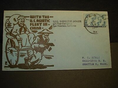 124a098db1ce1 USS SHERBURNE APA-205 Naval Cover 1946 COULTHARD CHINA ASIATIC Cachet