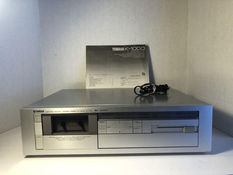 YAMAHA Natural Sound Stereo Cassette Deck K-1000 w Original Owner's Manual WORKS