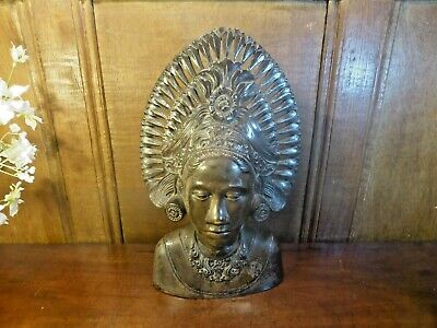 VINTAGE Balinese HAND MADE WOODEN CARVING of WOMAN in HEADDRESS 12