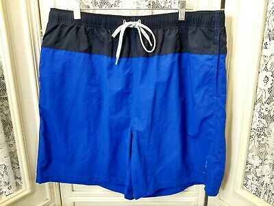 Nautica Swim Trunks Lined Shorts Mens Sz XXL Spell Out Blue VGUC!