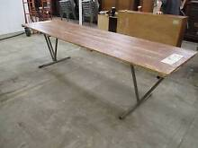 C18030 Vintage Trestle Table w/ Attached Metal Legs Dining CAFE Unley Unley Area Preview
