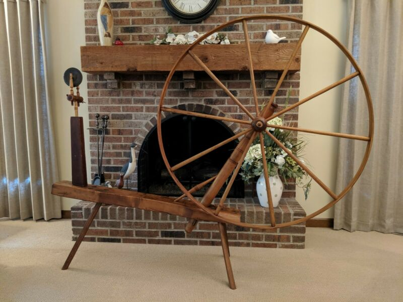 Beautiful, Large (48-inch wheel) Antique Walking Spinning Wheel