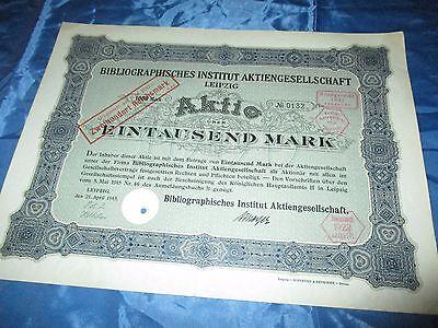 histor. AKTIE , Bibliographisches Institut AG LEIPZIG  1915 // 1000 Mark ,Nr.132