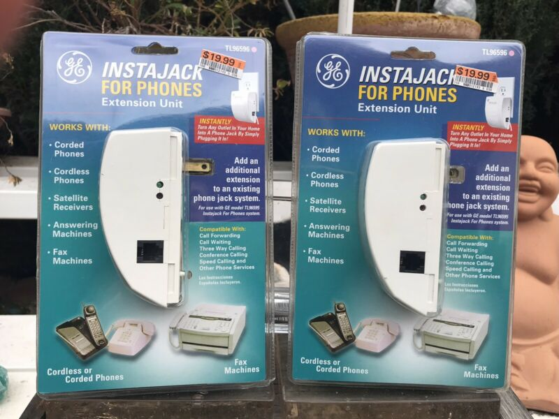 Lot of 2 New GE INSTAJACK For Phones Extension Unit (TL96596) ~ Free Shipping!