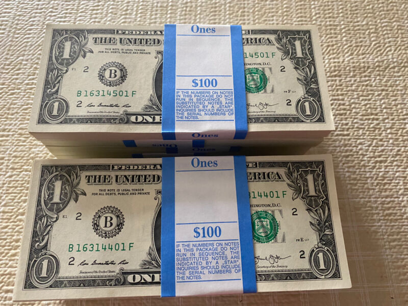 2013 1$ New York Consecutive Notes (100) UNC  From BEP BRICK