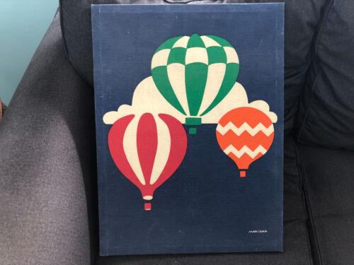 Vintage MARUSHKA Silk Screen on Frame HOT AIR BALLOONS