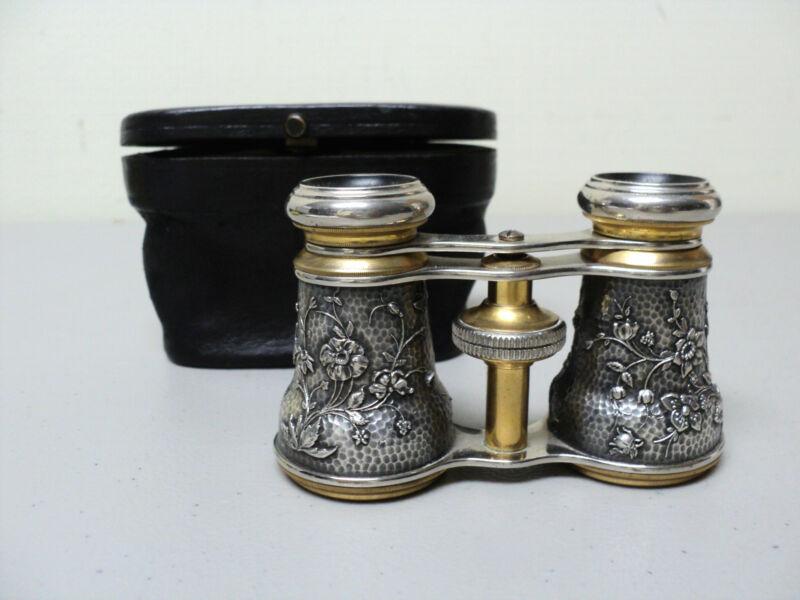 RARE CASED ANTIQUE FRENCH SILVER & BRASS OPERA GLASSES AESTHETIC MOVEMENT DESIGN