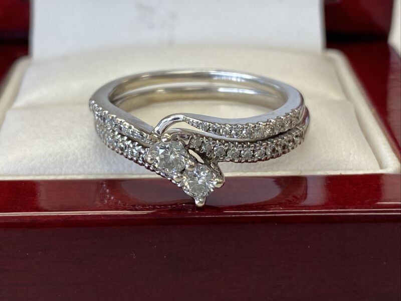 ❤️14K White Gold .65tcw Diamond Ever Us Engagement Ring and Band Set Size 8 3/4