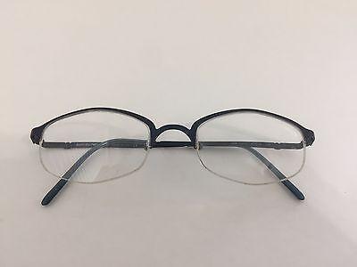 Emporio Armani Titanium Eyeglasses Blue Hexagon Logo Metal Glasses Frame Italy
