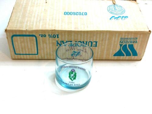 12 VINTAGE NOS ZEMBO HIGHLANDERS 1986 TARTAN BALL BLUE ROCK GLASSES WHEATON LOT